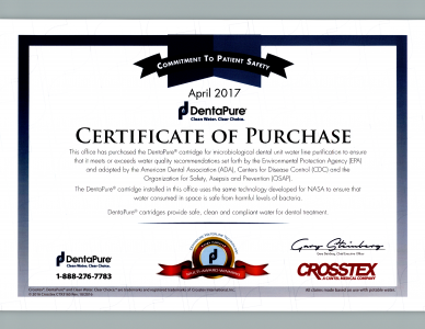 DentalPure Certificate of Purchase