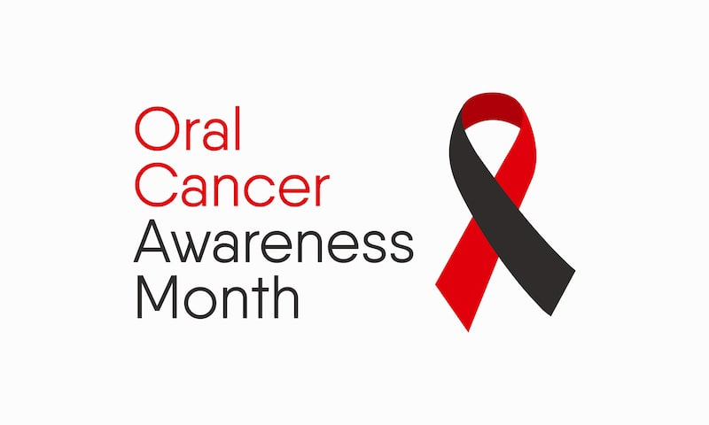 Vector showing ribbon for oral cancer awareness month.